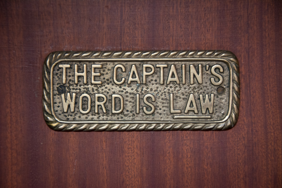 sailing trivia sign - the captain's word is law