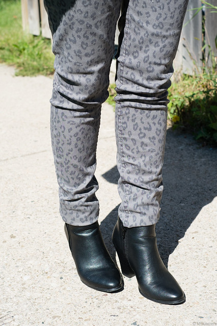 animal print pants ankle booties