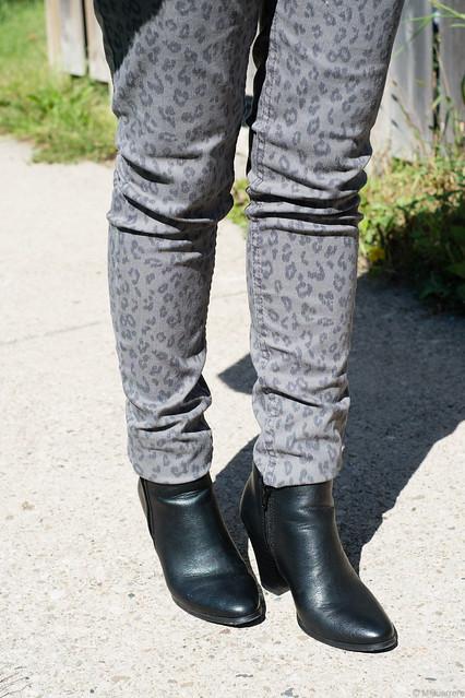 animal print pants ankle booties
