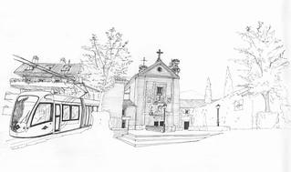 Convento y tranvía