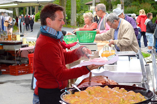 The ham man, Issigeac Market, Dordogne, France