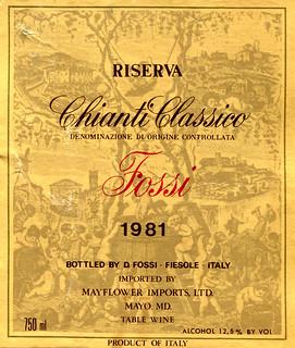 Italy - Fossi Chianto Classico Riserva 1981