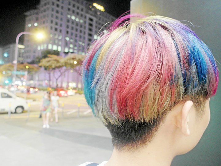 back of rainbow hair