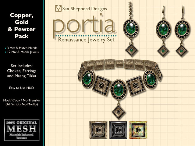 Portia Renaissance Jewelry Set (Copper, Gold & Pewter Pack)
