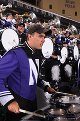 Push On, 'Cats! ::  	   The Northwestern University 'Wildcat' Marching Band performs at Ryan Field as Northwestern Wildcat Football competes against Western Michigan University on September 14, 2013.  Photo by Daniel M. Reck (GSESP08).