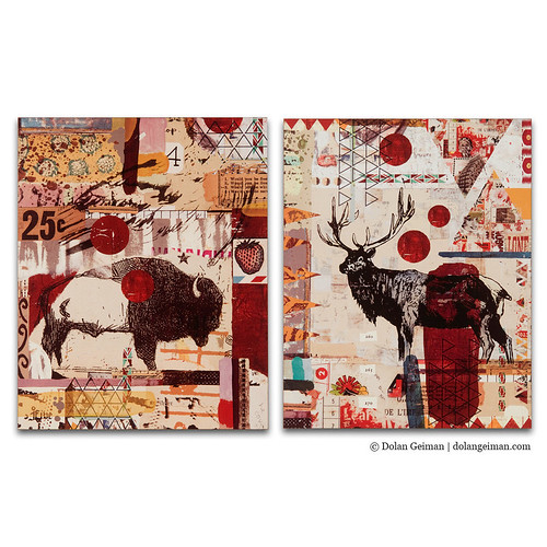 Dolan Geiman Rocky Mountain Daybreak: Bison & Elk Box Print Set, Southwestern Desert Mountain Collage