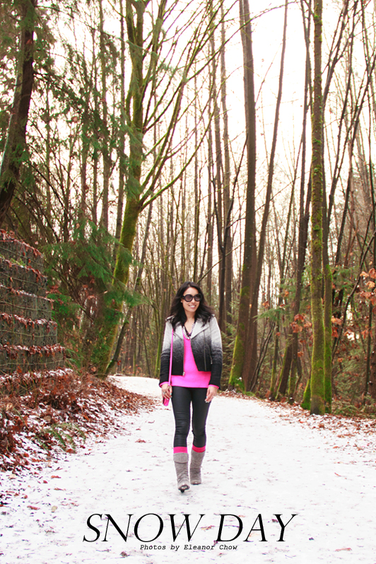 Gap ombre wool moto jacket, Old Navy fuchsia cable knit boot socks, Chinese Laundry suede boots, HRH Collection Tres Chic necklace, INPINK silver toned gunmetal ring, Prada Baroque sunglasses, Kate Spade pink crossbody bag, H&M coated skinny jeans, Zara neon pink sweater, fashion, style, Vancouver, winter, fashion blogger, Essie Mint Candy Apple nail polish