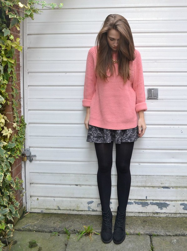 Pink jumper and skirt