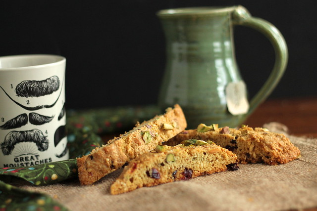 Gluten-free biscotti, with a cup of tea