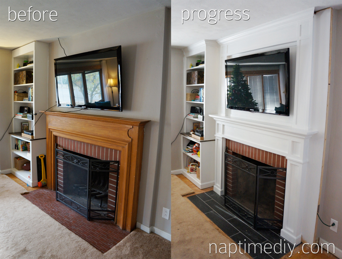 Fireplace Before and Progress (via NaptimeDIY.com)