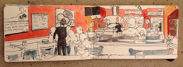 Sketching with Evelyn at the Rocky Mountain Flatbread Company