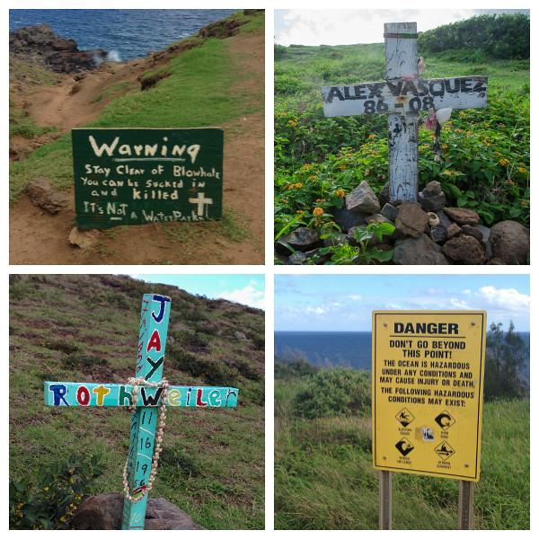 Warning signs - Northwest Maui - Hawaii