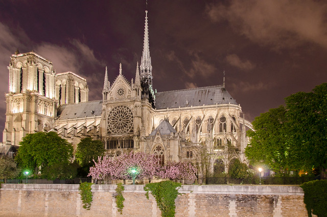 The Notre Dame Cathedral from across the River Seine