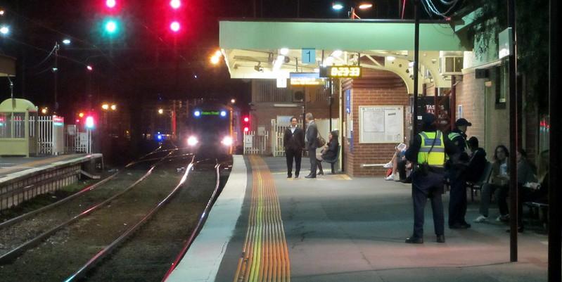 Newport station at night