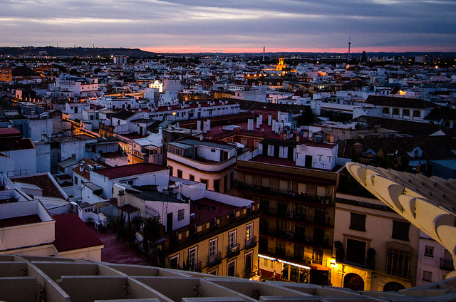 Colorful Sevilla at sunset from the Metropol Parasol.