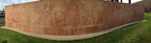 1940 WPA Relief behind Anza Statue Riverside Panorama