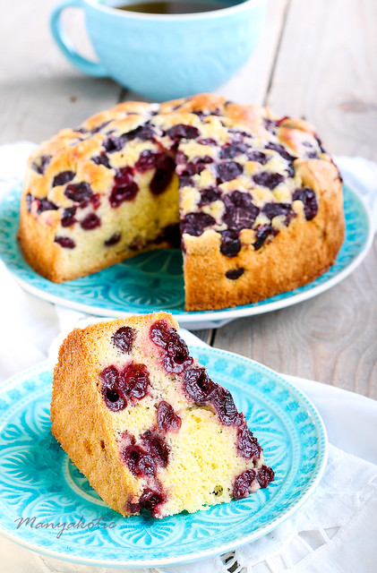Slice of sponge cherry cake