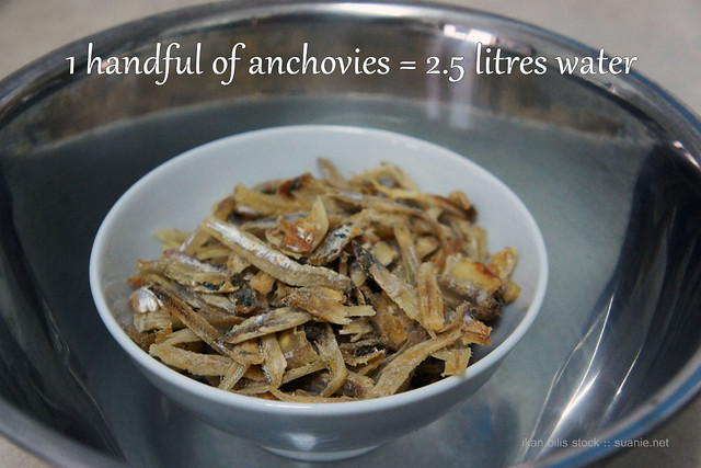 Ikan bilis (dried anchovies) stock - a handful