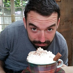 The very handsome @mental_block2 enjoying a rather frothy banoffee coffee!