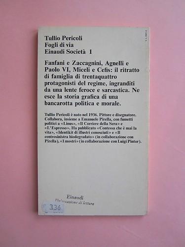 Fogli di via, di Tullio Pericoli. Einaudi 1976. Responsabilità grafica non indicata [Bruno Munari]. Quarta di copertina (part.), 1