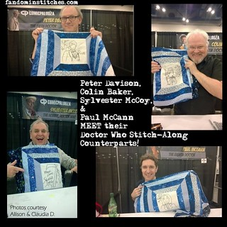 Four Doctors meet their hand embroidered counterparts from the Doctor Who Stitch Along!