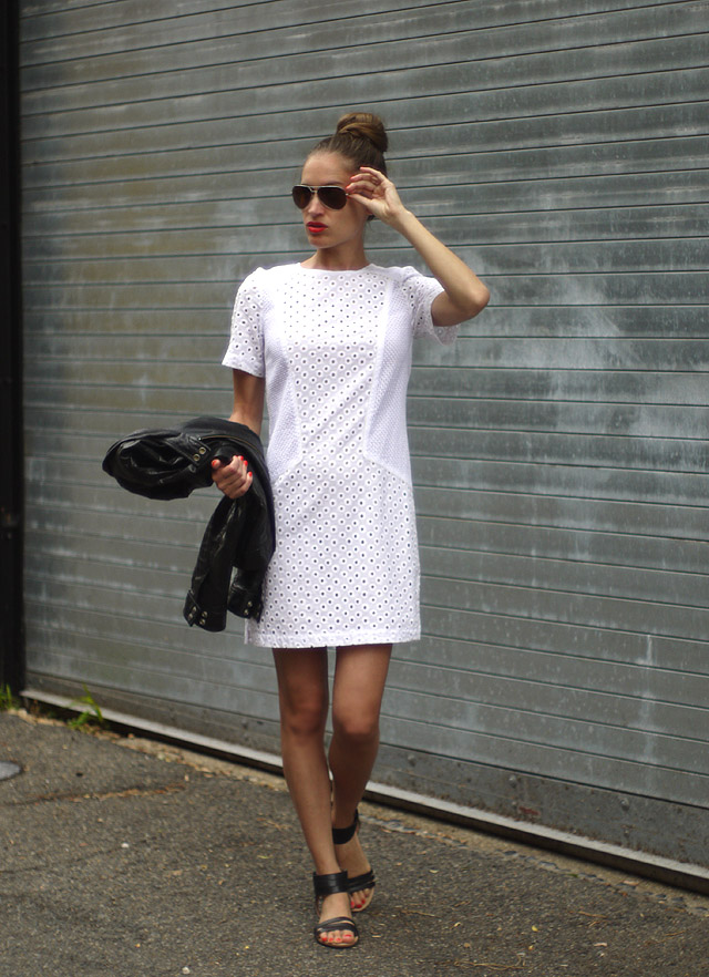 6 trina turk dress white cotton eyelet made in the usa summer style