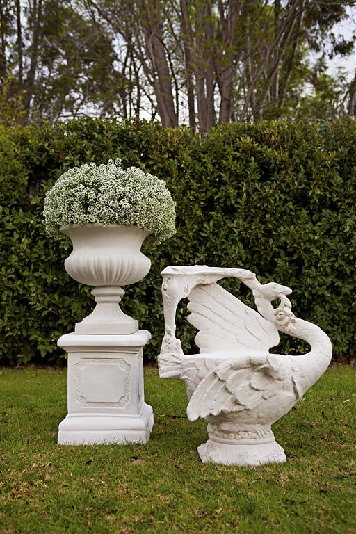 Bell Urn, Swan Chair & Paneled Pedestal