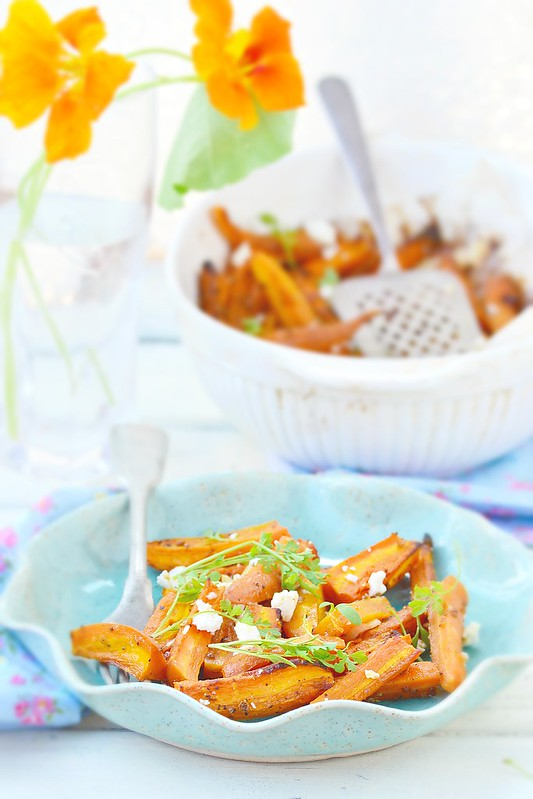baked carrot with feta cheese