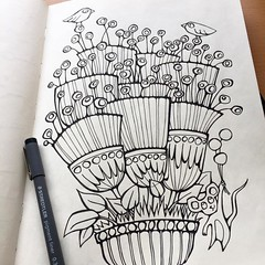 Well at least I seem to be making good therapeutic use of my evenings! Another one for that colouring-book-to-be ... Drawn with @staedtlermars pens in me @moleskine_arts journal. #floraldoodles #flowersketch #penandink #blackandwhite #colouringbook #color