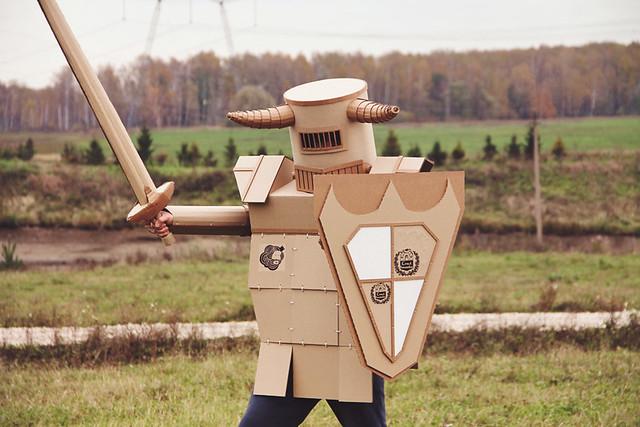 Cardboard tube knight