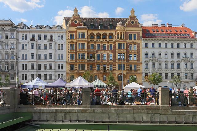 Vienna - Naschmarkt in front of Art Nouveau facades