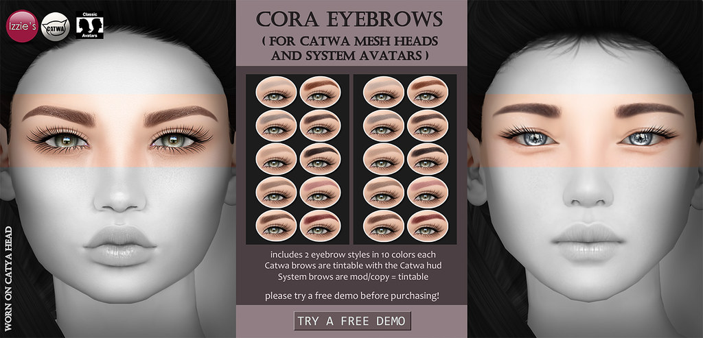 Cora Eyebrows (for Catwa and System Heads) - SecondLifeHub.com