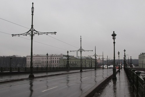 Disused tram tracks across Trinity Bridge (Тро́ицкий мост) over the River Neva