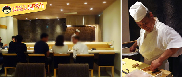 Sushi Bar YASUDA in Tokyo - bar and dining room