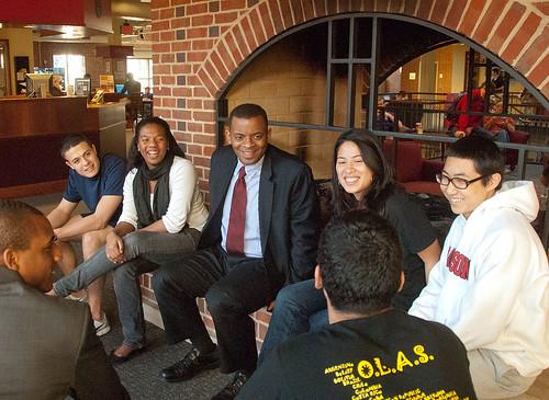 Anthony Foxx talks with Davidson students
