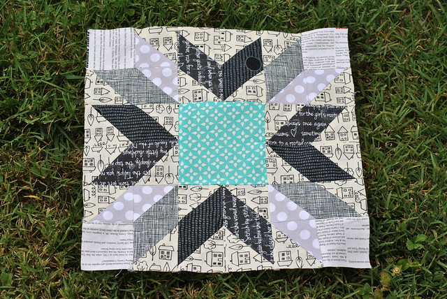 Quilt with Black and White Color Theme, Large Teal Suare in Middle