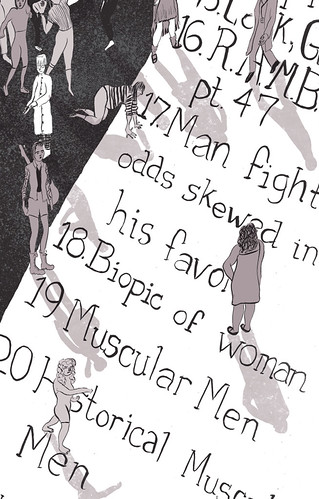 "An illustration of an actual list with cliche film titles on it like ""man fights odds skewed against him."" Tiny figures, including women, stand on the margins."