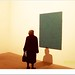 signora che guarda biennale