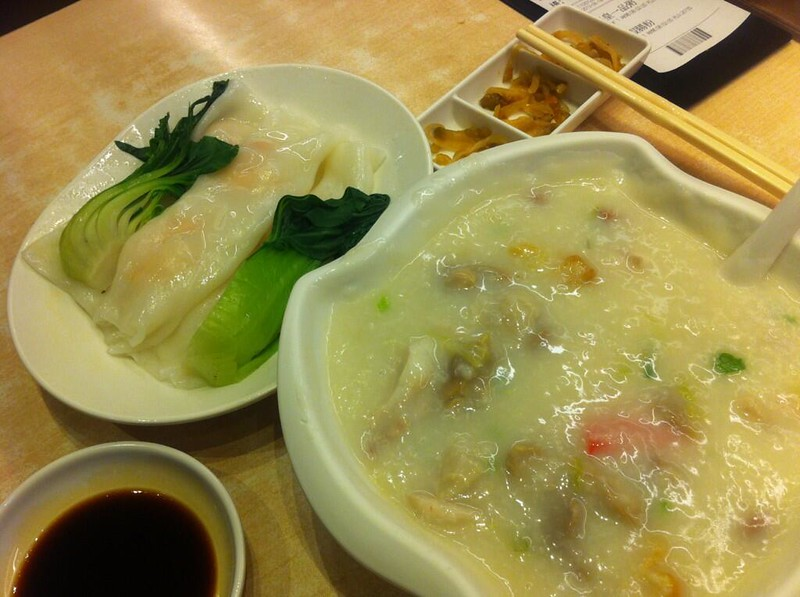 Ocean Empire signature porridge and spring roll