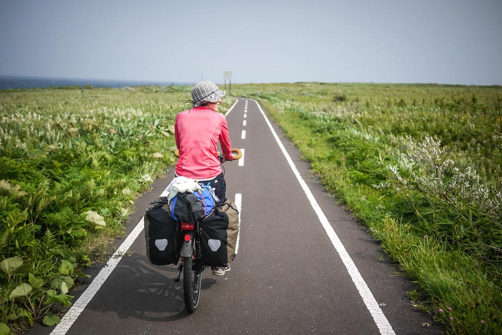 Wind swept coastal scenery on the cycle path on Rishiri Island, Japan