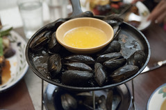 Iron Skillet Roasted Mussels with Drawn Butter, Restaurant Lulu, San Francisco