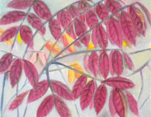 Red Leaves (Oil Bar Painting as of October 7, 2013) by randubnick