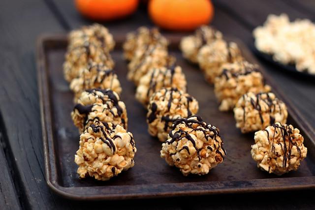 Dark Chocolate Drizzled Popcorn Balls - Gluten-free and Dairy-free