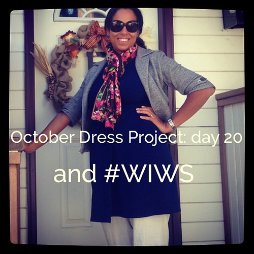 #ODP: Day 20 and #WIWS. Blue dress, white pants, grey jacket, scarf. #ABeautifulMess
