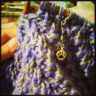 Watching football and #knitting #cowl #lapdogcreations #stitchmarkers #knitstagram