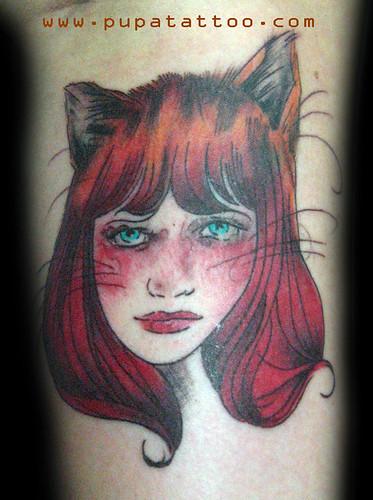 Tatuaje cara mujer gato, Pupa Tattoo Granada by Marzia PUPA Tattoo
