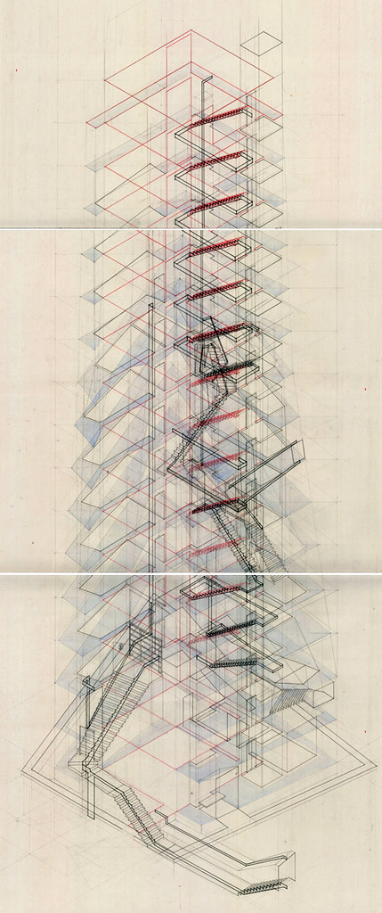Tower, student thesis (2009) + pencil, ink, watercolor w