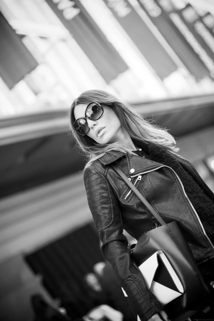 street style barbara crespo calle preciados madrid perfecto zara leather the corner dress outfit
