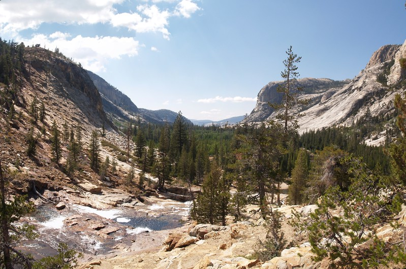 Looking west down the Grand Canyon of the Tuolumne River from the Glen Aulin High Sierra Camp