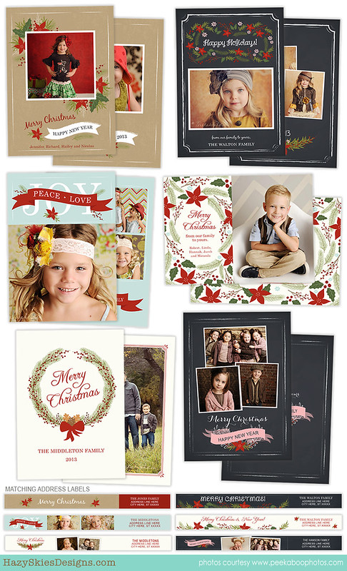 Christmas Card Template for Photographers Photo Card Template HC21621